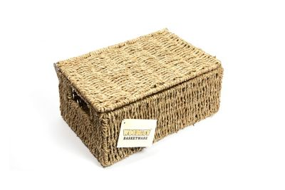Woodluv Seagrass Storage Basket With Lid - Medium