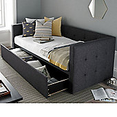 Happy Beds Frankie Fabric Day Bed and Underbed Storage Drawer with Orthopaedic Mattress - Grey - 3ft Single