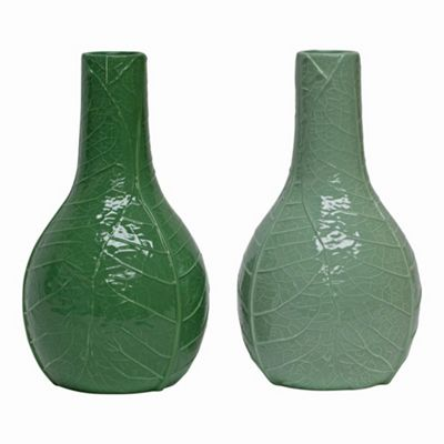 Set of 2 Bekir 29cm Tropical Leaf Wrap Vases