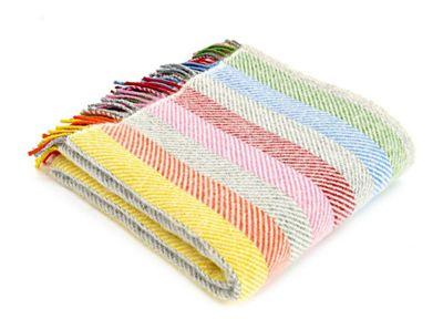 Tweedmill Textiles 100% Pure Wool Blanket Stripe Throw Design in Rainbow Grey