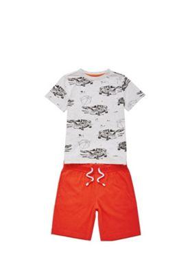 F&F Crocodile T-Shirt and Shorts Set Grey 12-18 months