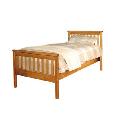 Comfy Living 3ft Single Slatted Bed Frame in Caramel with Damask Sprung Mattress