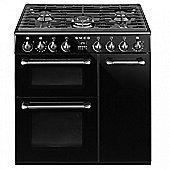 Smeg Burghley BU93BL Range Cooker in Black | 90cm Dual Fuel