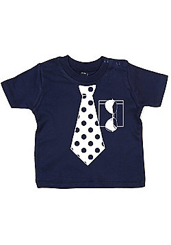 Dirty Fingers Spotty Necktie and Sunglasses Baby T-shirt - Navy