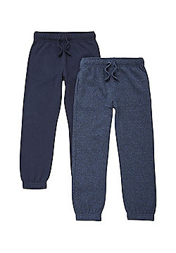 F&F 2 Pack of Drawstring Joggers with As New Technology - Navy