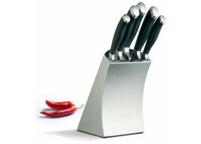 Kitchen Craft Masterclass Trojan Five Piece Knife Set and Stainless Steel Block