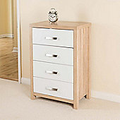 Bianco 4 Drawer Chest, Oak Effect by Christow