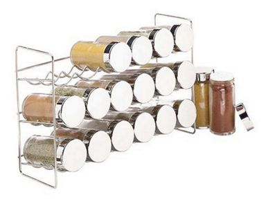 Polder 18 Jar Compact Spice Rack with Perforated Shaker Caps Silver