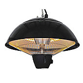 Outsunny 1.5KW Outdoor Ceiling Aluminium Halogen Electric Patio Heater w/ Remote Control - Black