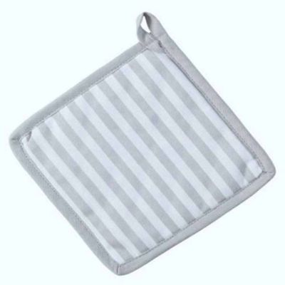 Homescapes Cotton Thin Stripe Grey White Pot Holder
