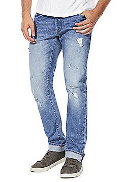 F&F Authentic Selvedge Ripped Slim Leg Jeans - Light wash