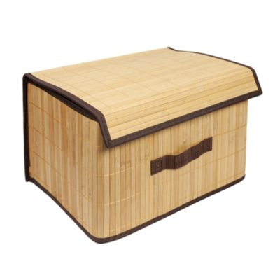 Woodluv Rectangular Folding Lidded Bamboo Box Basket - Natural