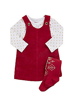 F&F Corduroy Dress, Bodysuit and Reindeer Tights Set - Red