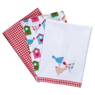 Tesco Tweet Tea Towels 3 Pack