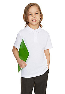 F&F School 2 Pack of Boys Polo Shirts With As New Technology - White