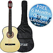 3rd Avenue Full Size Classical Guitar - Natural - with 6 Months Free Online Music Lessons