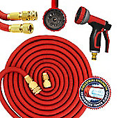 Red Expandable Garden Hose Pipe with Solid Brass Ends & 10 Function Spray Gun (100ft)