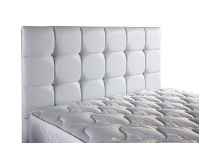 ValuFurniture Diamond Leather Headboard - White - Single 3ft