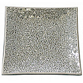 Mosaic - Sparkle Mosaic Square Decorative Plate / Trinket Dish - Silver