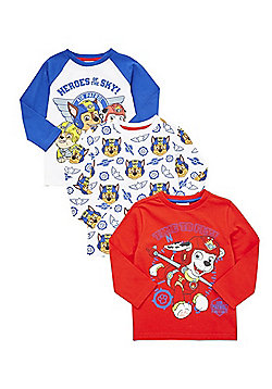 Nickelodeon 3 Pack of Paw Patrol Long Sleeve T-Shirts - Red