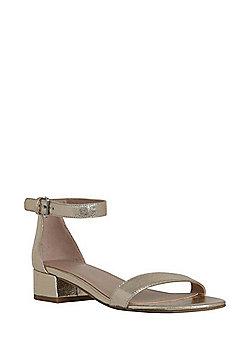 F&F Low Block Heel Sandals - Gold