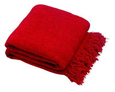 Plain Chenille Throw 125 x 150cm, Red
