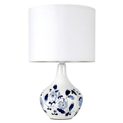 MiniSun Traditional Chinese Dianthus Ceramic Table Lamp - White Shade