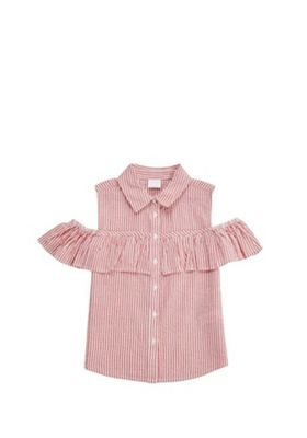 F&F Striped Frill Cold Shoulder Blouse Red/White 11-12 years