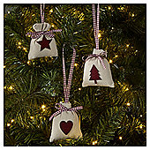 Hessian Sack Christmas Tree Decorations, 6 pack