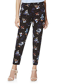 F&F Floral Print Ankle Grazer Mid Rise Slim Fit Trousers - Multi