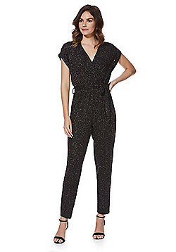 F&F Glitter Wrap Front Jumpsuit - Black