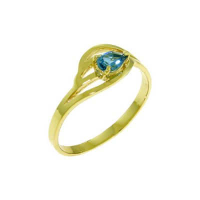 QP Jewellers 0.30ct Blue Topaz Pear Strand Ring in 14K Gold - Size P