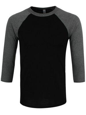 Black & Deep Heather 3/4 Sleeve Baseball T-Shirt