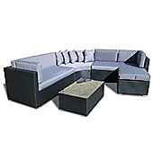 Bermuda Outdoor Black Rattan Curved Corner Sofa Set