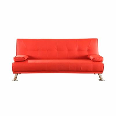 Comfy Living Faux Leather Sofa Bed Cinema in Red
