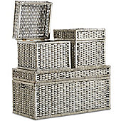 VonHaus Wicker Storage Trunks - Set of 3 – Storage Ottoman / Organiser – Hinged Lid
