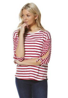 F&F Striped Bow Sleeve Top Red/White 16