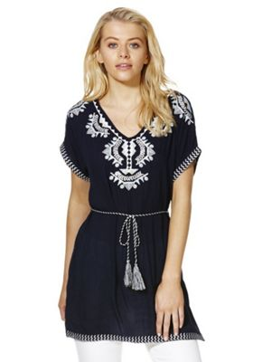 Stella Morgan Embroidered Tunic Top 8 Navy