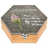French - Carte Postale Shabby Chic Hexagonal Storage Box - Grey/brown