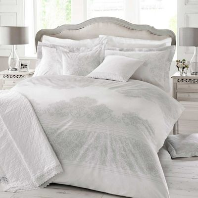 Holly Willoughby 'Iva' White and Grey Lace Print Patterned Quilt Cover
