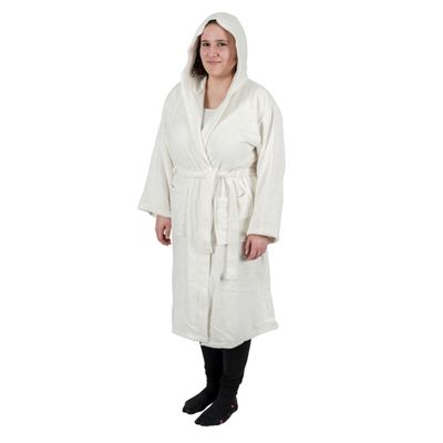 Homescapes Cream 100% Combed Egyptian Cotton Hooded Adults Unisex Bathrobe, Small/Medium