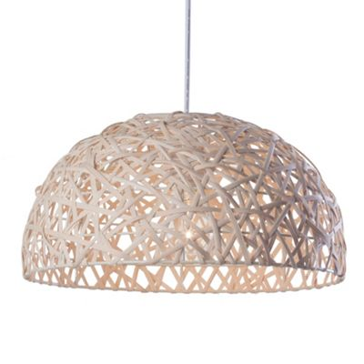 Litecraft Weave 1 Bulb Ceiling Pendant, Wicker