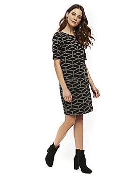Wallis Geometric Print Zip Detail Shift Dress - Stone
