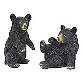 Set of 2 Black Bear Animal Garden Ornaments