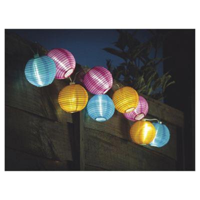 buy tesco chinese lantern solar string lights 10pc. Black Bedroom Furniture Sets. Home Design Ideas