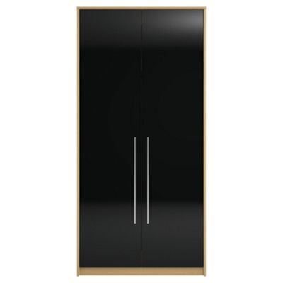 Adria Tall Oak Double Wardrobe With Black Gloss Doors
