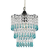 Modern Pendant Lighting Shade with Teal/Clear Acrylic Droplets and Beads