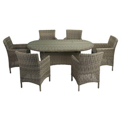 oxford 7 piece oval garden furniture set