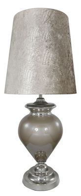 Taupe Pearl Regency Statement Lamp With Taupe Crocodile Shade