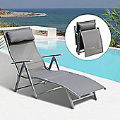 Outsunny Patio Sun Lounger Texteline Foldable Reclining Chair w/ Pillow (Grey)